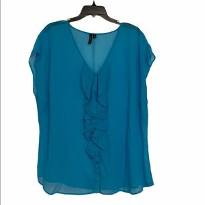 Relativity Turquoise Color Cap Sleeve Sheer Blouse